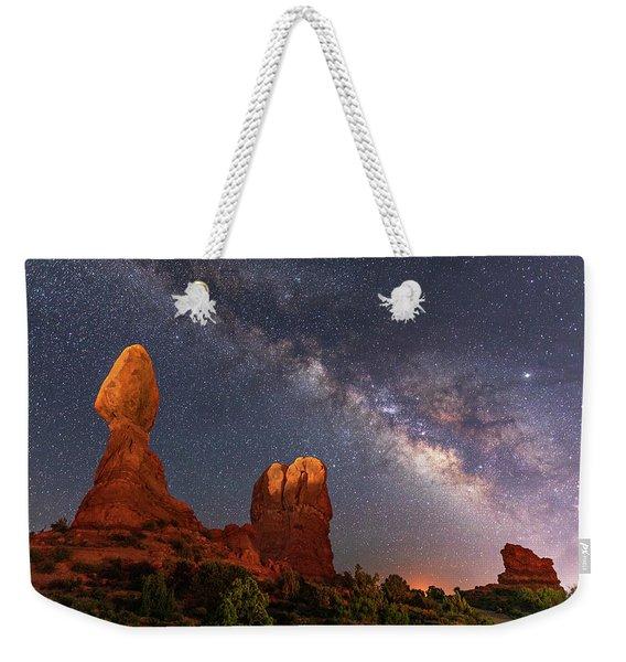Balanced Rock Night Weekender Tote Bag