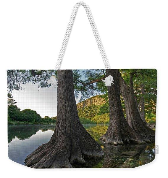 Bald Cypress Trees In River, Frio Weekender Tote Bag