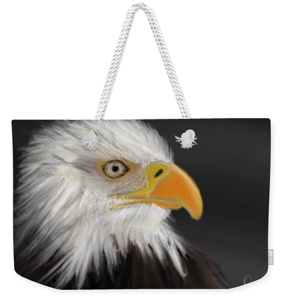 Weekender Tote Bag featuring the pastel Bald Eagle by Fe Jones
