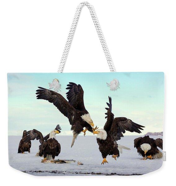 Bald Eagle Fight Weekender Tote Bag