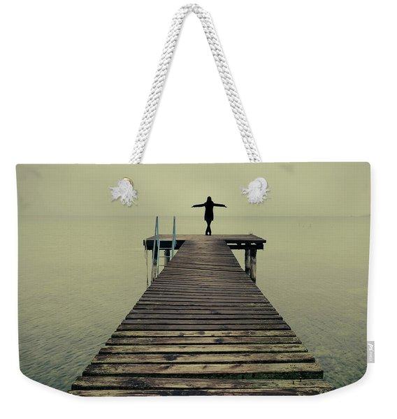 Ballerina Pose At Idyllic Lake At Winter Weekender Tote Bag