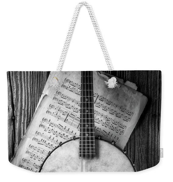 Banjo And Sheet Music Black And White Weekender Tote Bag