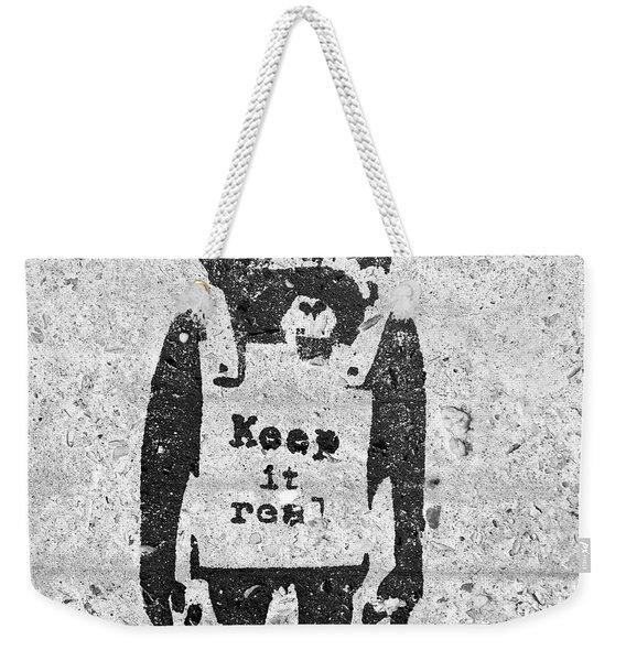 Banksy Chimp Keep It Real Weekender Tote Bag