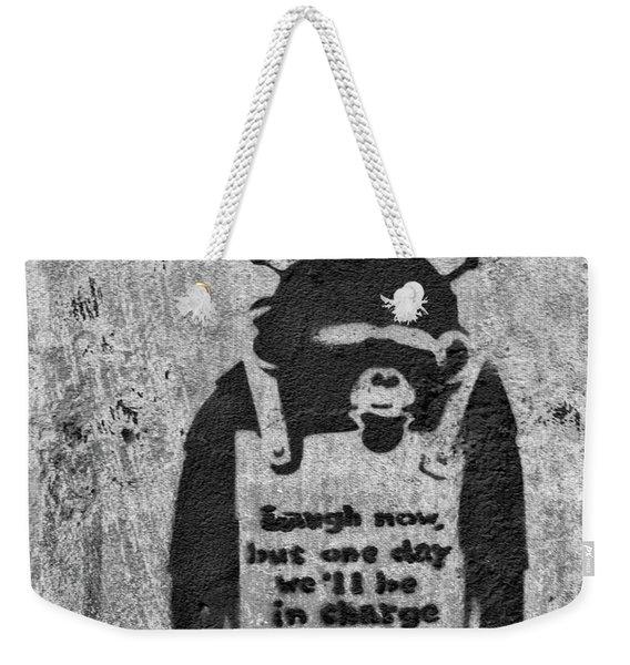 Banksy Chimp Laugh Now Graffiti Weekender Tote Bag