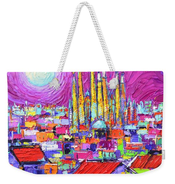 Barcelona Mystic Full Moon Over Sagrada Familia Abstract Cityscape Knife Painting Ana Maria Edulescu Weekender Tote Bag