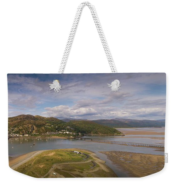 Barmouth And The Mawddach Estuary Aerial Panorama Weekender Tote Bag