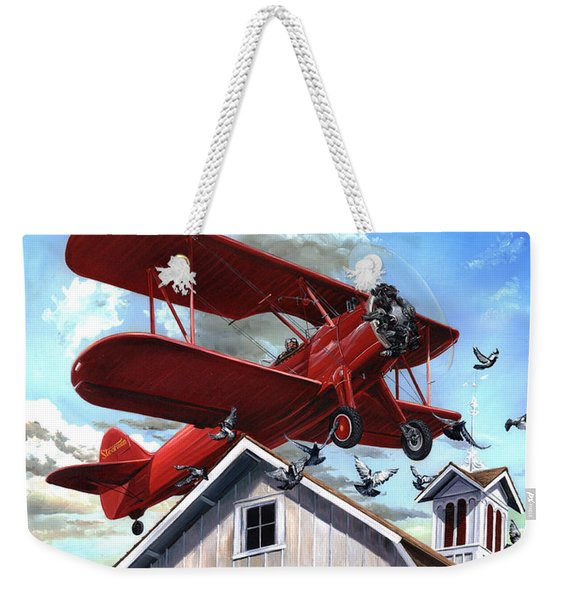 Weekender Tote Bag featuring the painting Barn Stormer - Customizeable by Clint Hansen