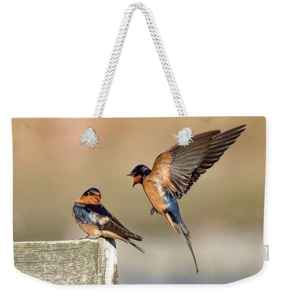 Barn Swallow Conversation Weekender Tote Bag