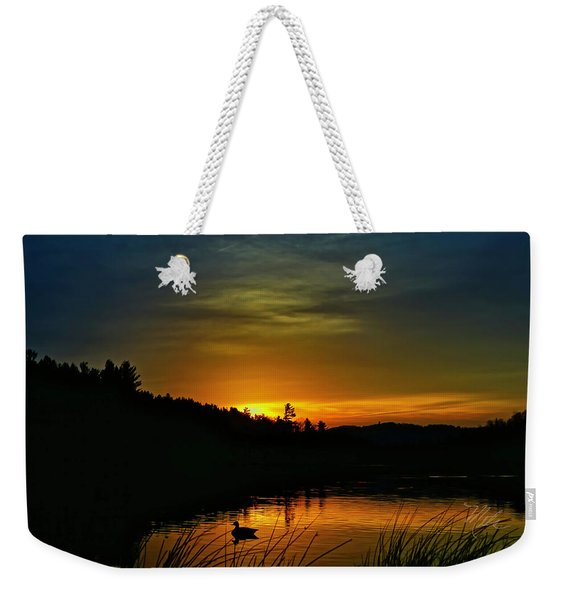 Bass Lake Sunrise Duck Weekender Tote Bag