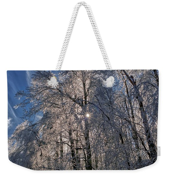 Bass Lake Trees Frozen Weekender Tote Bag