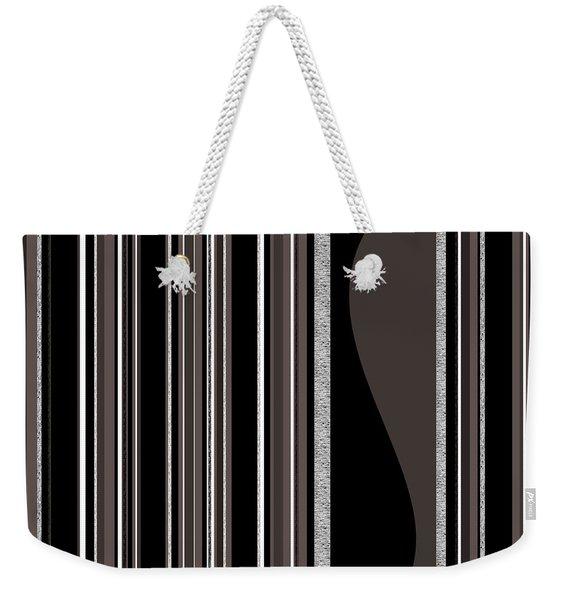 Bass Note - Random Stripes - Black And White Weekender Tote Bag