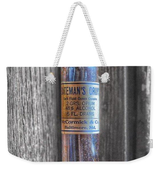 Antique Mccormick And Co Baltimore Md Bateman's Drops Opium Bottle Weekender Tote Bag