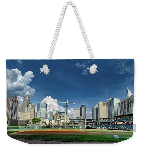 Bbt Baseball Charlotte Nc Knights Baseball Stadium And City Skyl Weekender Tote Bag