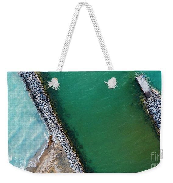 Beach And Inlet In Arcadia Aerial Weekender Tote Bag