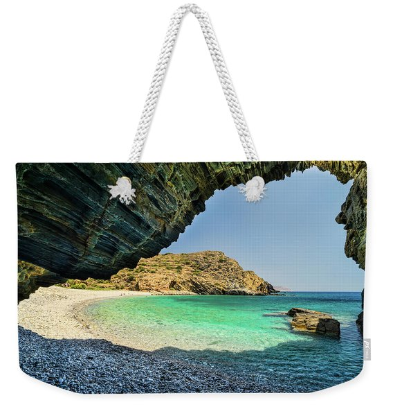 Almiro Beach With Cave Weekender Tote Bag