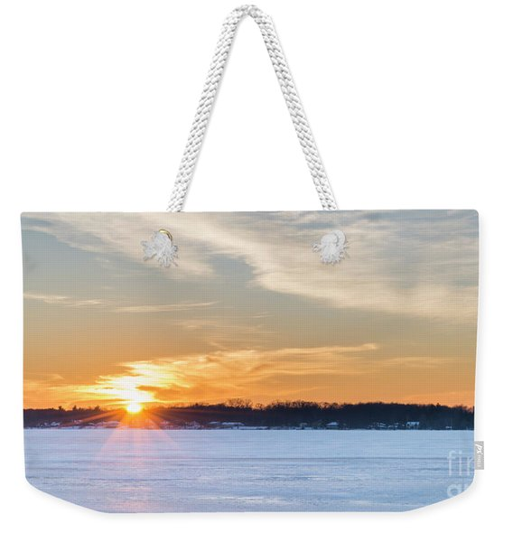 Bear Lake Winter Sunset Weekender Tote Bag