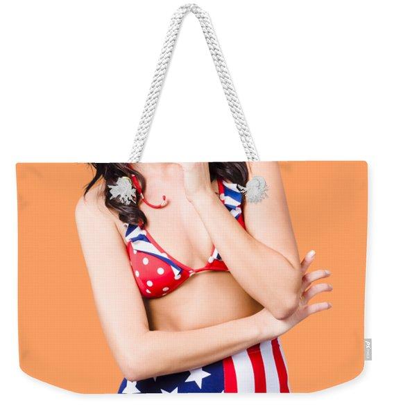 Beautiful American Military Pin Up Girl Weekender Tote Bag