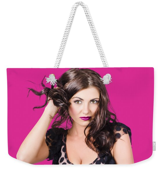 Beautiful Brunette Woman. Model Hair Style Weekender Tote Bag