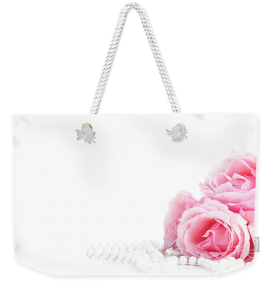 Beautiful Pastel Pink Roses Bunch And Elegant Bridal Pearls Isol Weekender Tote Bag