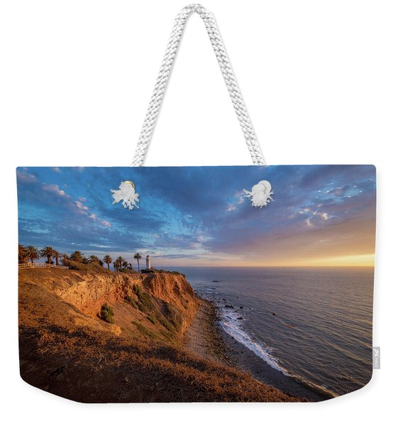 Weekender Tote Bag featuring the photograph Beautiful Point Vicente Lighthouse At Sunset by Andy Konieczny