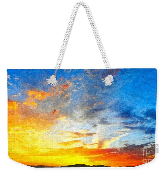 Beautiful Sunset In Landscape In Nature With Warm Sky, Digital A Weekender Tote Bag