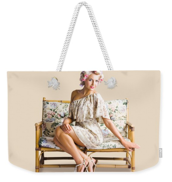 Beautiful Woman On Couch Weekender Tote Bag