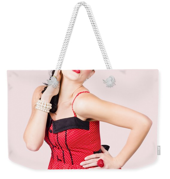 Beautiful Young Pin-up Woman In Retro Fashion Weekender Tote Bag
