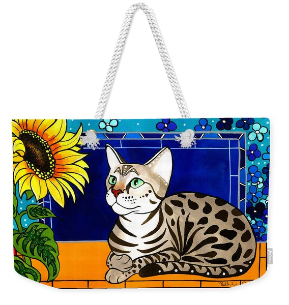 Beauty In Bloom - Savannah Cat Painting Weekender Tote Bag