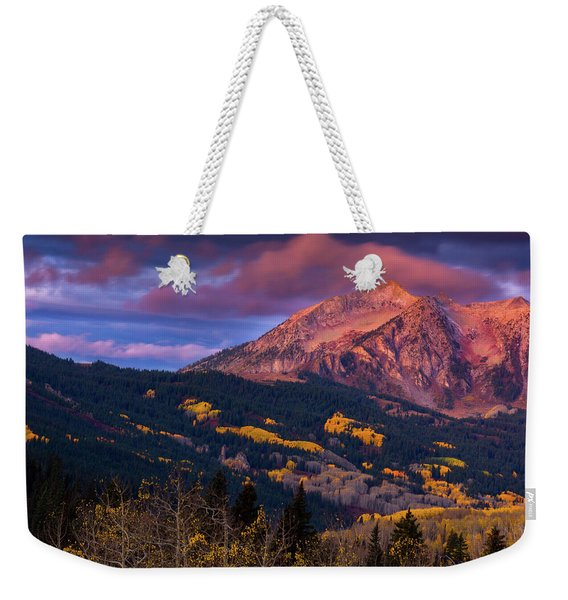 Weekender Tote Bag featuring the photograph Beckwith At Sunrise by John De Bord