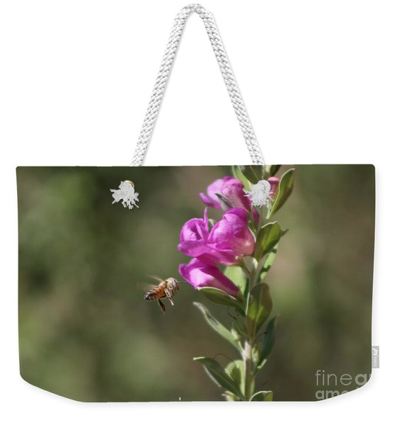Bee Flying Towards Ultra Violet Texas Ranger Flower Weekender Tote Bag