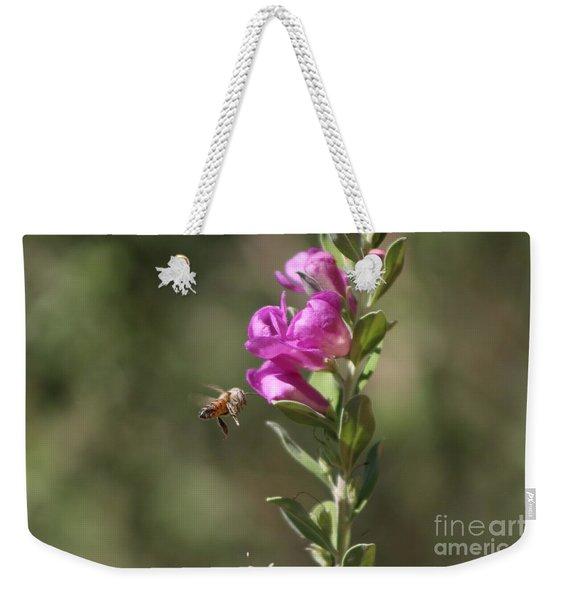 Bee Flying Towards Ultra Violet Texas Ranger Flower Weekender Tote Bag