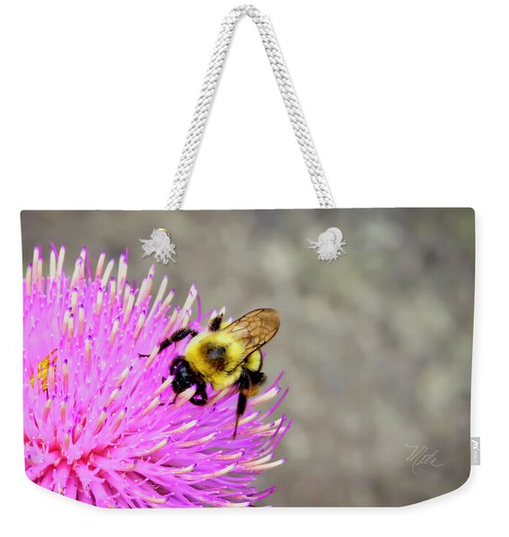 Bee On Pink Bull Thistle Weekender Tote Bag