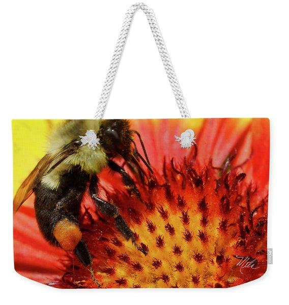 Bee Red Flower Weekender Tote Bag
