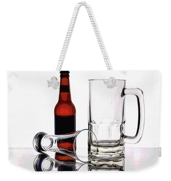 Beer Bottle And Glasses Weekender Tote Bag