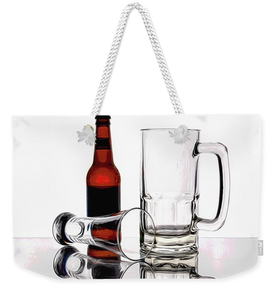 Beer Bottle And Glasses Weekender Tote Bag