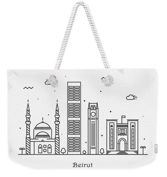 Beirut Cityscape Travel Poster Weekender Tote Bag