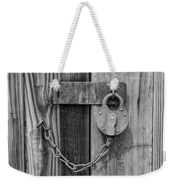 Belmont Lock, Black And White Weekender Tote Bag