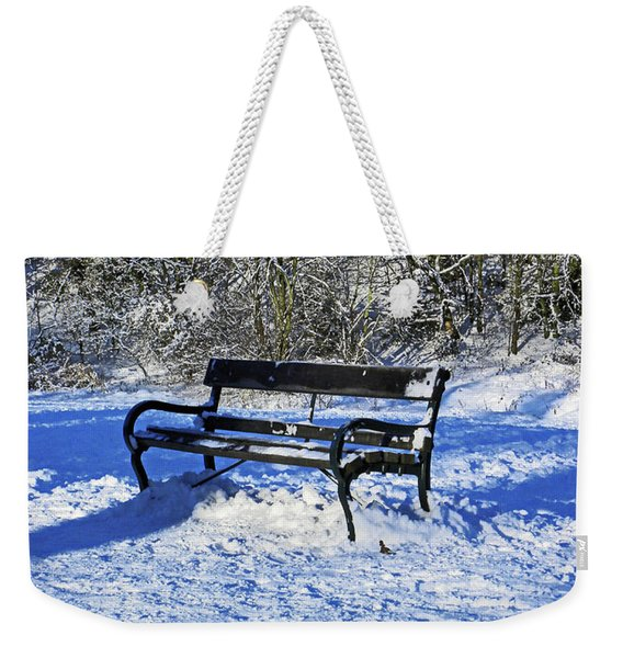 Bench In The Snow Weekender Tote Bag