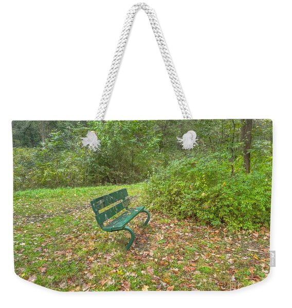 Bench Overlooking Pine Quarry Weekender Tote Bag