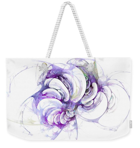Weekender Tote Bag featuring the digital art Beyond Abstraction Purple by Don Northup
