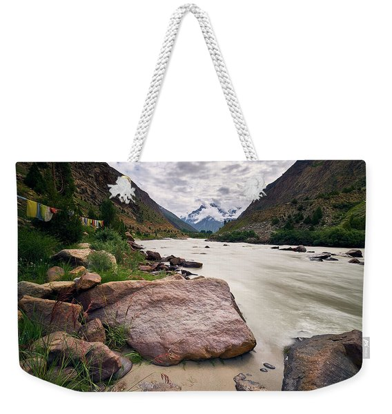 Weekender Tote Bag featuring the photograph Bhag River by Whitney Goodey