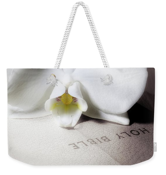 Bible With White Orchid Weekender Tote Bag