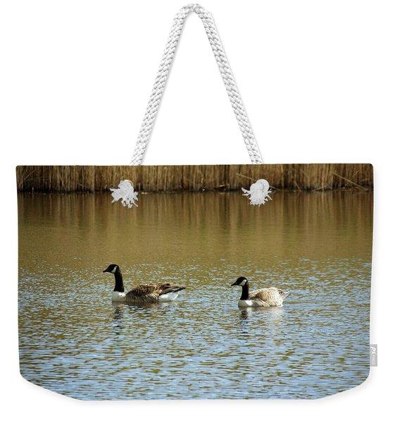 Bidston.  Bidston Moss Wildlife Reserve. Two Geese. Weekender Tote Bag