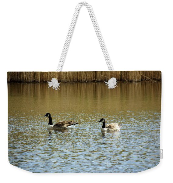 Bidston.  Bidston Moss Wildlife Reserve. Two Geese. Weekender Tote Bag