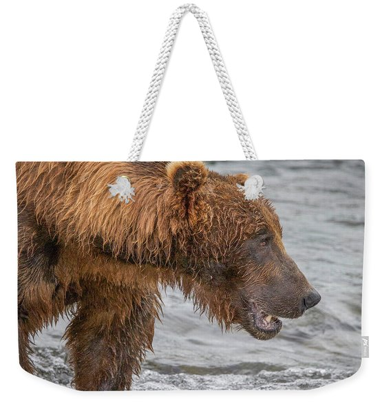 Big Brown Bear Fishing Weekender Tote Bag