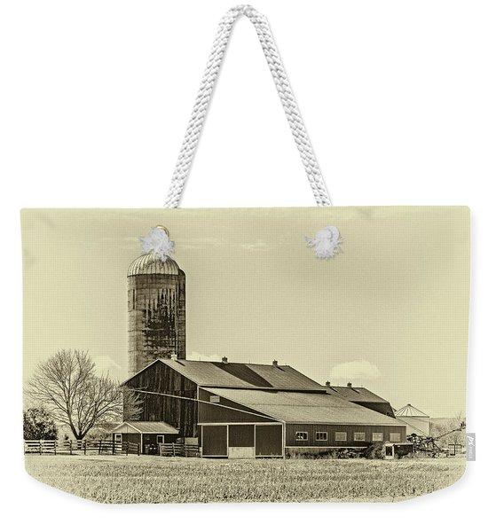 Big Red Barn 3 Sepia Weekender Tote Bag