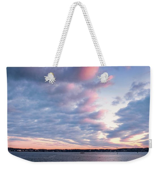 Weekender Tote Bag featuring the photograph Big Sky Over Portsmouth Light. by Jeff Sinon