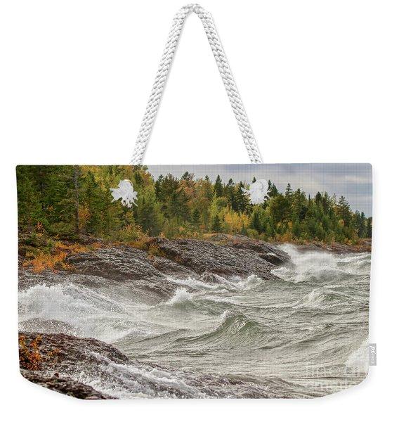 Big Waves In Autumn Weekender Tote Bag