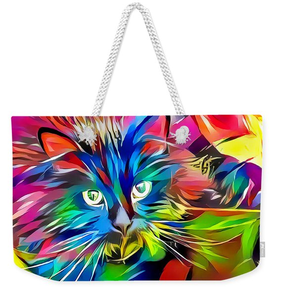 Weekender Tote Bag featuring the digital art Big Whiskers Cat by Don Northup