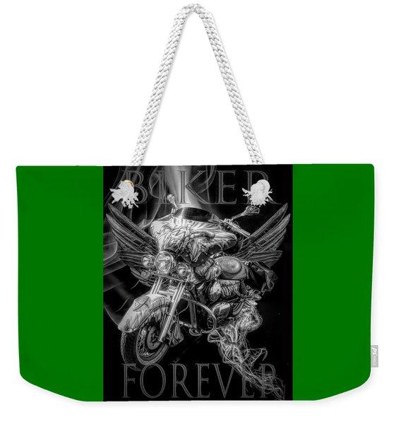 Biker Forever In Black And White Weekender Tote Bag